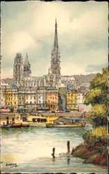 Künstler Ak Barday, Rouen Seine Maritime, Le Quai de Paris et la Cathedrale