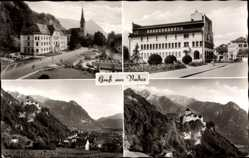 Postcard Vaduz Liechtenstein, Gebirge, Burg, Kirche, Straßenpartie, Häuser