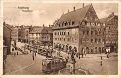 Postcard Augsburg in Schwaben, Straßenkreuzung, Straßenbahnen, Weberhaus