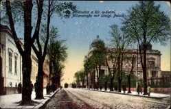 Postcard Belgrad Serbien, Blick in die Milanstraße mit königlichem Palais