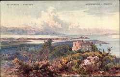 Künstler Ak Korfu Griechenland, Achilleion, Villa Imperiale, Panorama