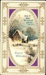 Präge Ak Frohe Weihnachten, Haus im Schnee, Winteridyll, Psalm 2, 11
