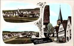Postcard Illingen an der Saar, Totalansicht, Kirchturm, Geschäft, Siedlung
