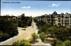Postcard Augsburg in Schwaben, Blick in die Kaiserstraße, Straßenbahn, Häuser