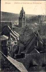 Ansichtskarte / Postkarte Meißen in Sachsen, Stadtturm und Burgstraße vom Schlossberg aus