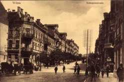 Postcard Vilnius Wilna Litauen, Blick in die Schopenstraße, Passanten, Kutschen