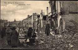 Ak Ortelsburg Ostpreußen, Markt, Kriegszerstörungen, Ruinen, Kinder