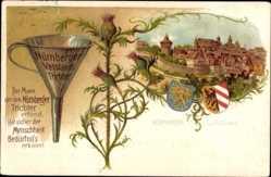 Präge Wappen Litho Nürnberg, Blick vom Hallertor, Nürnberger Trichter