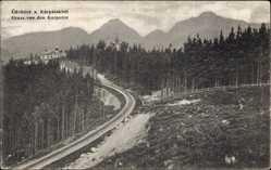 Postcard Slowakei, Gruß von den Karpathen, Gleisstrecke im Wald
