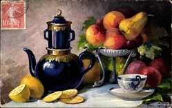 Künstler Ak Golay, Mary, Obst, Äpfen, Zitronen, Birne, Stillleben