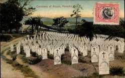 Postcard Ancon Panama, Cemetery, Friedhof, Viele Grabsteine