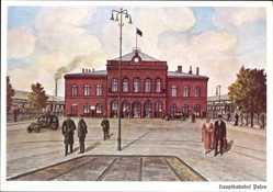 Künstler Ak Poznań Posen, Hauptbahnhof, Straßenseite, Passanten