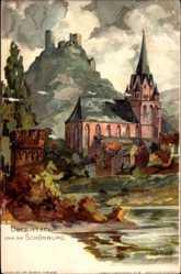Künstler Litho Graf, Oberwesel im Rhein Hunsrück Kreis, Stadt mit Schönburg