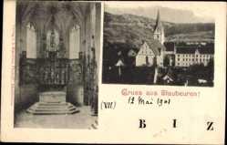 Postcard Blaubeuren Baden Württemberg, Innen und Außenansicht der Kirche