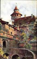 Künstler Ak Sollmann, Nürnberg in Mittelfranken Bayern, Blick auf Vestnertor