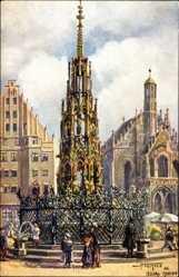 Künstler Ak Sollmann, Nürnberg in Mittelfranken Bayern, Brunnen, Frauenkirche