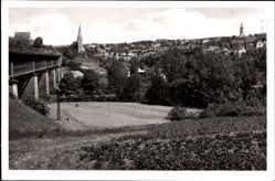 Postcard Marbach am Neckar, Gesamtansicht der Stadt, Kirchtürme, Felder