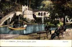 Postcard Insel Madeira Portugal, Monte Palace Hotel, Lake, See, Sitzbänke, Boot