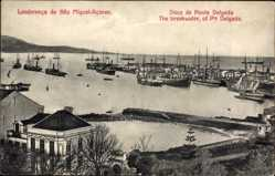 Postcard Sao Miguel Azoren Portugal, Doca de Ponta Delgada, Breakwater, Hafen