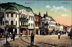 Postcard Miskolcz Ungarn, Szechenyi ter, Straßenpartie, Passanten, Geschäfte