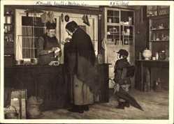 Künstler Ak Philippi, Peter, Beim Krämer, HDK 546, Großmutter mit Kind