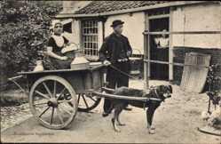 Ak Niederlande, Milchmädchen, Zeeuwsche Hondenkar, Arbeitshund