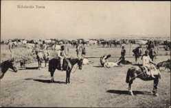 Postcard Argentinien, Senalando Toros, Pferde, Rindergehege