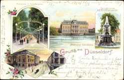 Litho Düsseldorf am Rhein, Provinzial Ständehaus, Tonhalle, Springbrunnen