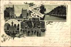 Litho Düsseldorf am Rhein, Königsallee, Elberfelder Straße, Tonhallengarten
