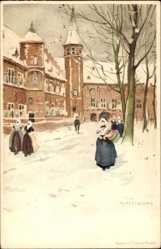Künstler Ak Middelbourg Zeeland Niederlande, Straße im Winter, Frau in Tracht