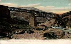 Postcard Argentinien, Puente del Ferro Carril Transandino, Eisenbahnviadukt, Anden