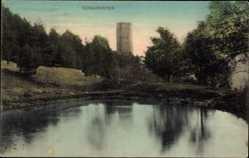 Postcard Schauenstein Oberfranken, Turm, Wald, Ufer, Mauerwerk, Himmel, Spiegelung