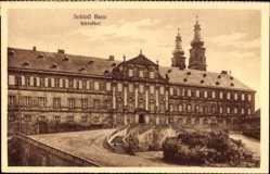 Postcard Bad Staffelstein, Blick auf das Schloss Banz, Schlosshof, Türme, Treppe