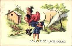 Künstler Ak Luxemburg, Mann trägt Frau auf den Schultern