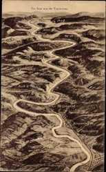 Landkarten Ak Merzig an der Saar, Die Saar aus der Vogelschau
