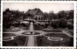 Postcard Stetten am kalten Markt im Kreis Sigmaringen, Springbrunnen, Grünanlage