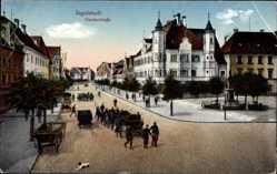 Postcard Ingolstadt an der Donau Oberbayern, Blick auf die Harderstraße, Denkmal