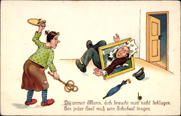 Künstler Ansichtskarte  Postkarte Du armer Mann, Frau