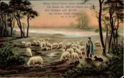 Künstler Ak Joh. 10, 27, 28, Hirte, Meine Schafe hören meine Stimme..