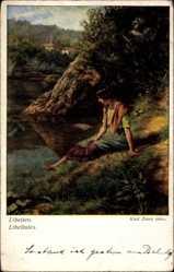 Künstler Ak Zewy, Karl, Libellen, Libellules, Frau am Wasser, BKWI 1182