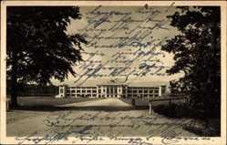 Postcard Frankfurt Main, Stadion, Anmarschstraße mit Tribüne, Bäume