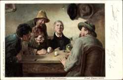 Künstler Ak Zimmermann, Ernst, Das Ei des Kolumbus, Männer an einem Tisch