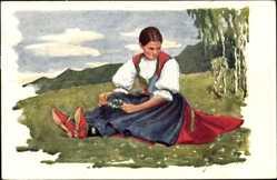 Künstler Ak Gardavske, M., Morawskie typy Walachow, Mädchen in Tracht
