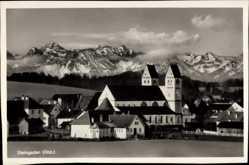 Postcard Steingaden in Oberbayern, Ortschaft mit Kirche und Alpen