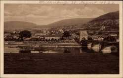 Postcard Miltenberg in Unterfranken Bayern, Brückenpartie mit Stadtblick