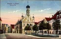 Postcard Kempten im Allgäu Schwaben, Blick auf den Rathausplatz, Glockenturm
