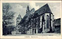 Postcard Coburg in Oberfranken, Straßenpartie mit Blick auf die Morizkirche