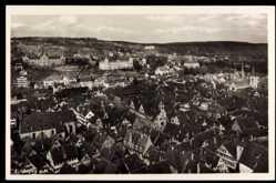 Postcard Tübingen am Neckar, Blick vom Schloss auf Kliniken und Altstadt