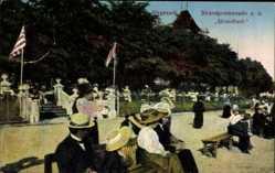 Postcard Bremen, Strandpromenade, Strandlust, Passanten, Sitzgelegenheiten