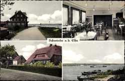 Postcard Schwinde Drage Elbe, Gasthaus, Innenansicht, Straßenpartie, Fluss